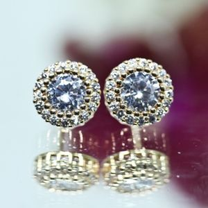 Jewelry - 18kt Gold Dipped White Topaz Halo Earrings Studs